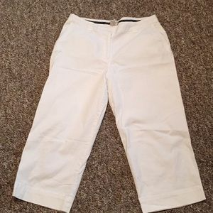 L.L. Bean 14 Women's 98% White Cotton Cropped Pant